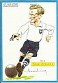 Sir Tom Finney signed amusing caricature 6 x 4