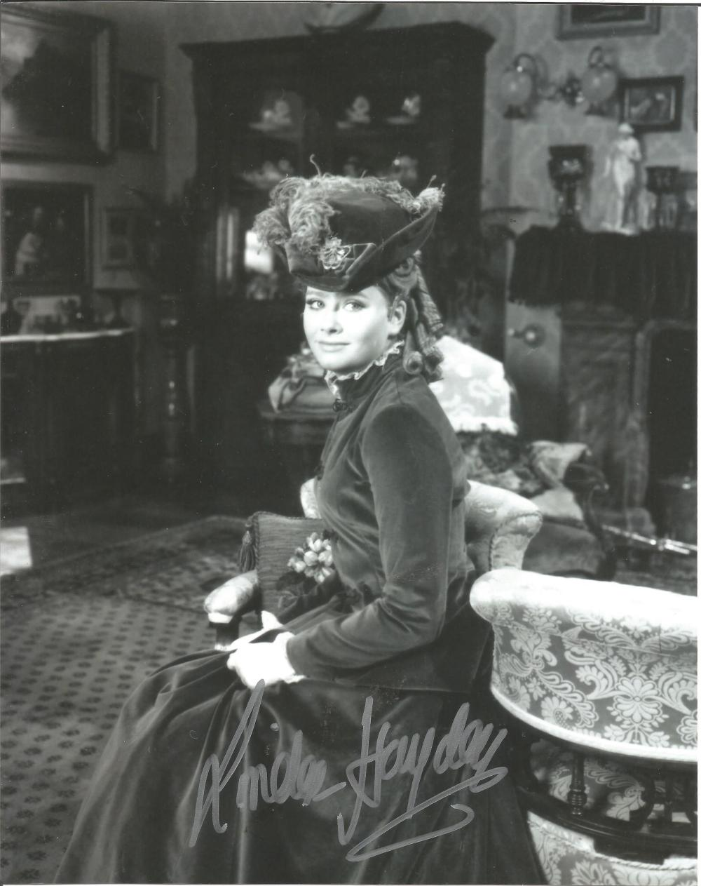 Linda Hayden Hammer Horror hand signed 10x8 photo. This beautiful hand-signed photo depicts Linda