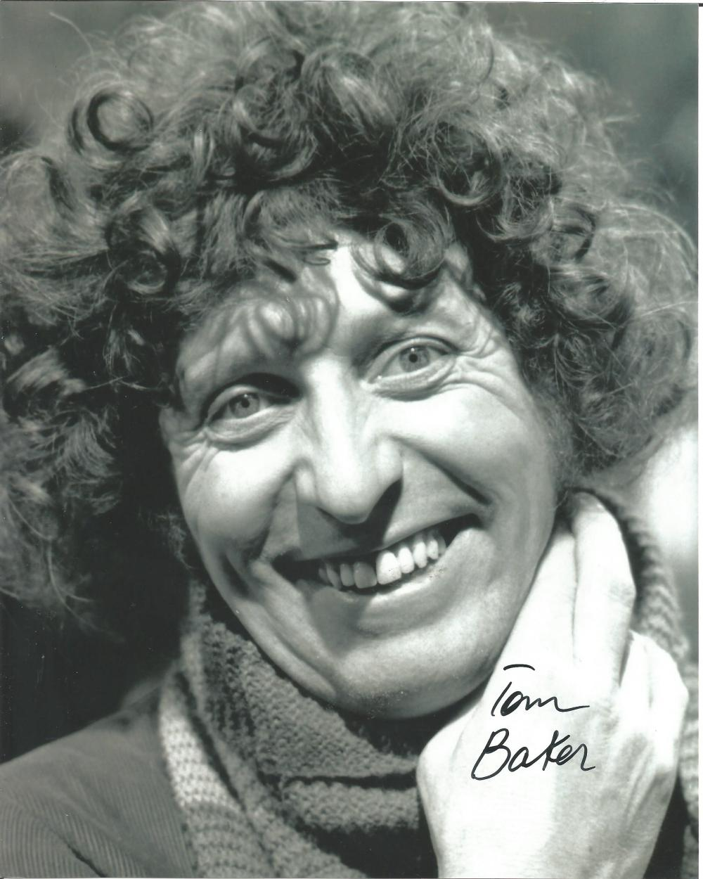Tom Baker Dr. Who hand signed 10x8 photo. This beautiful hand signed photo depicts Tom Baker as