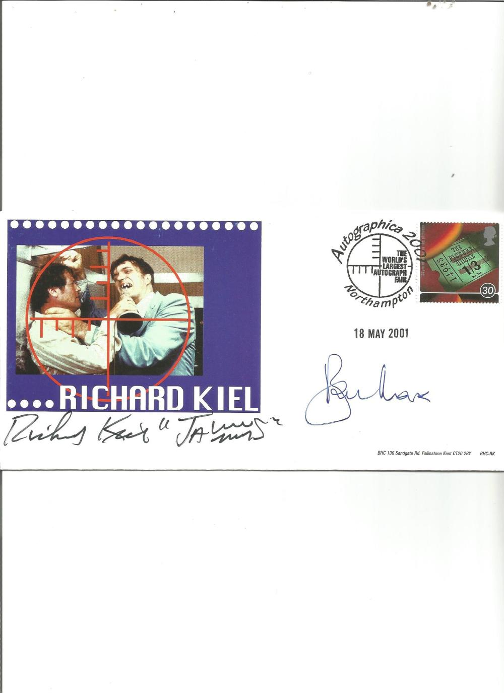 Richard Kiel and Roger Moore signed FDC. Good Condition. All signed pieces come with a Certificate