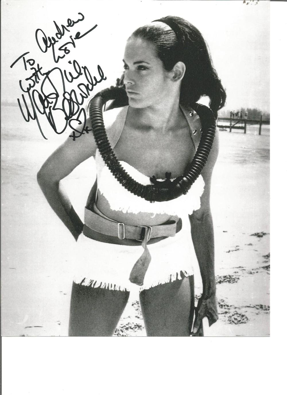 Martine Beswick signed 10x8 b/w photo from Thunderball. Dedicated. Good Condition. All signed pieces