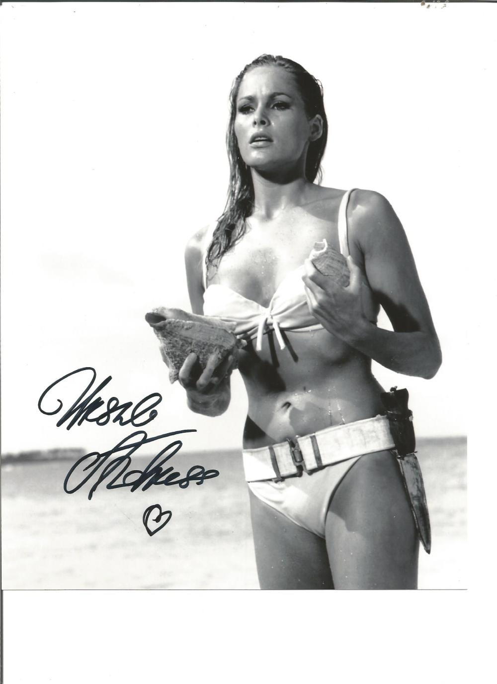 Ursula Andress signed 10x8 b/w photo from Dr No. Good Condition. All signed pieces come with a
