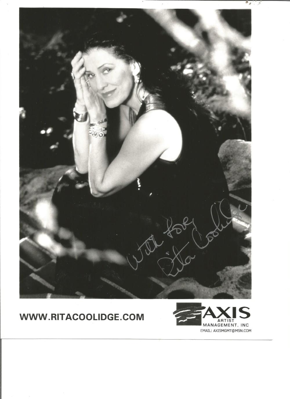 Rita Coolidge signed 10x8 b/w photo. Sang theme tune for Octopussy. Good Condition. All signed