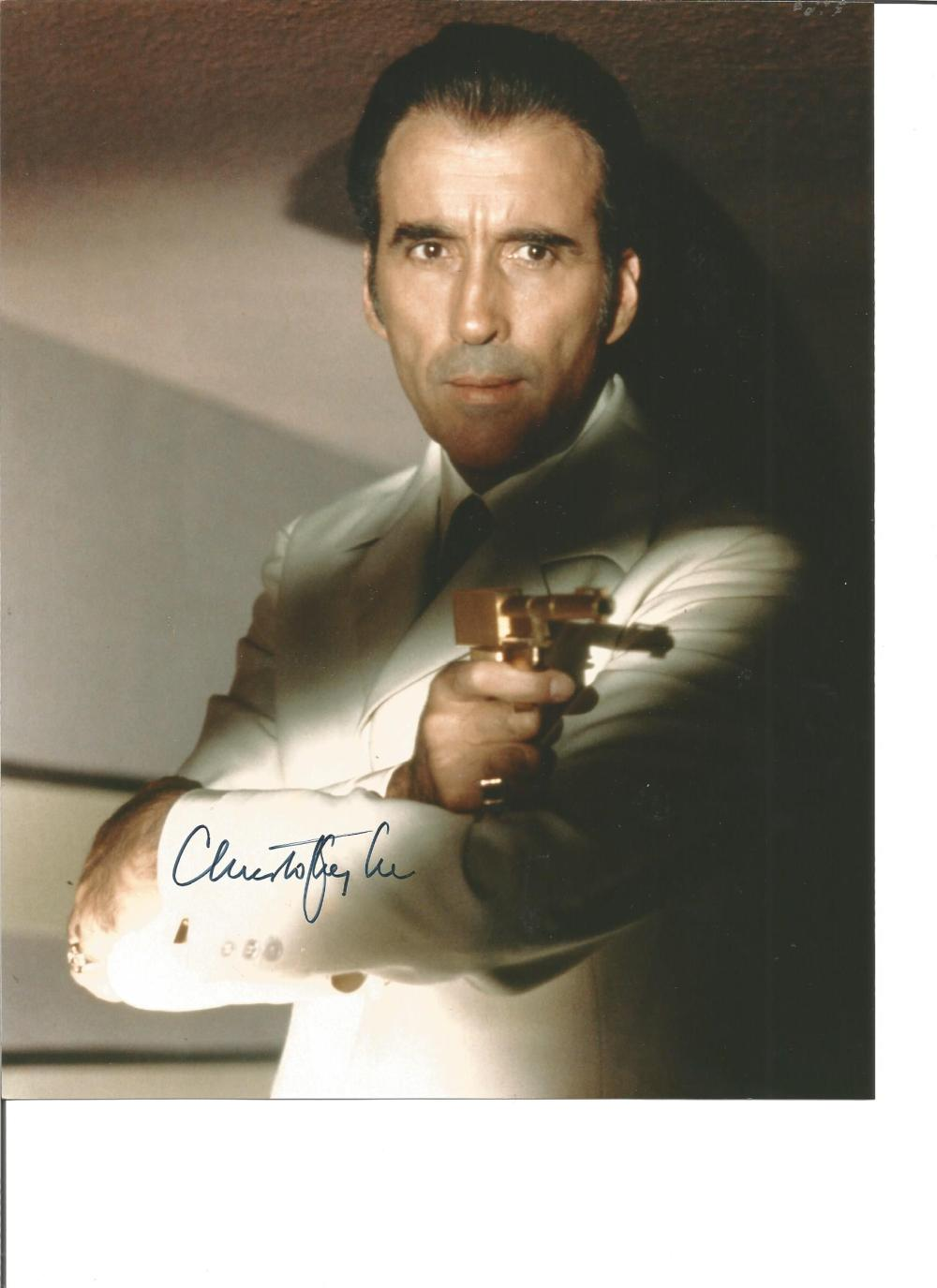 Christopher Lee signed 10x8 colour photo from The Ma with the Golden Gun. Good Condition. All signed