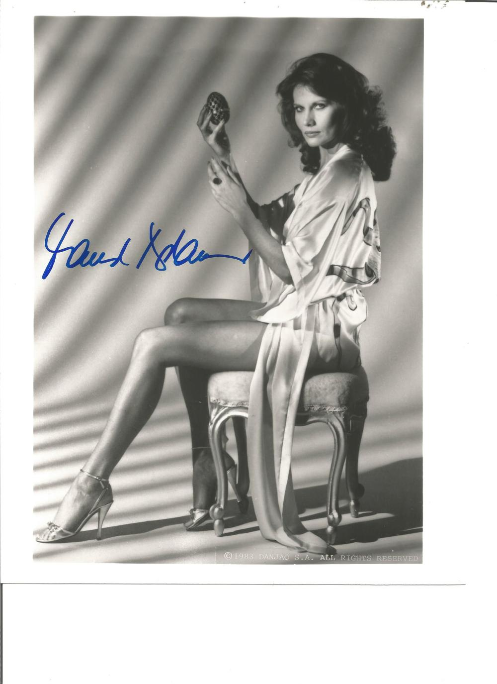 Maud Adams signed 10x8 b/w photo from Octopussy. Good Condition. All signed pieces come with a