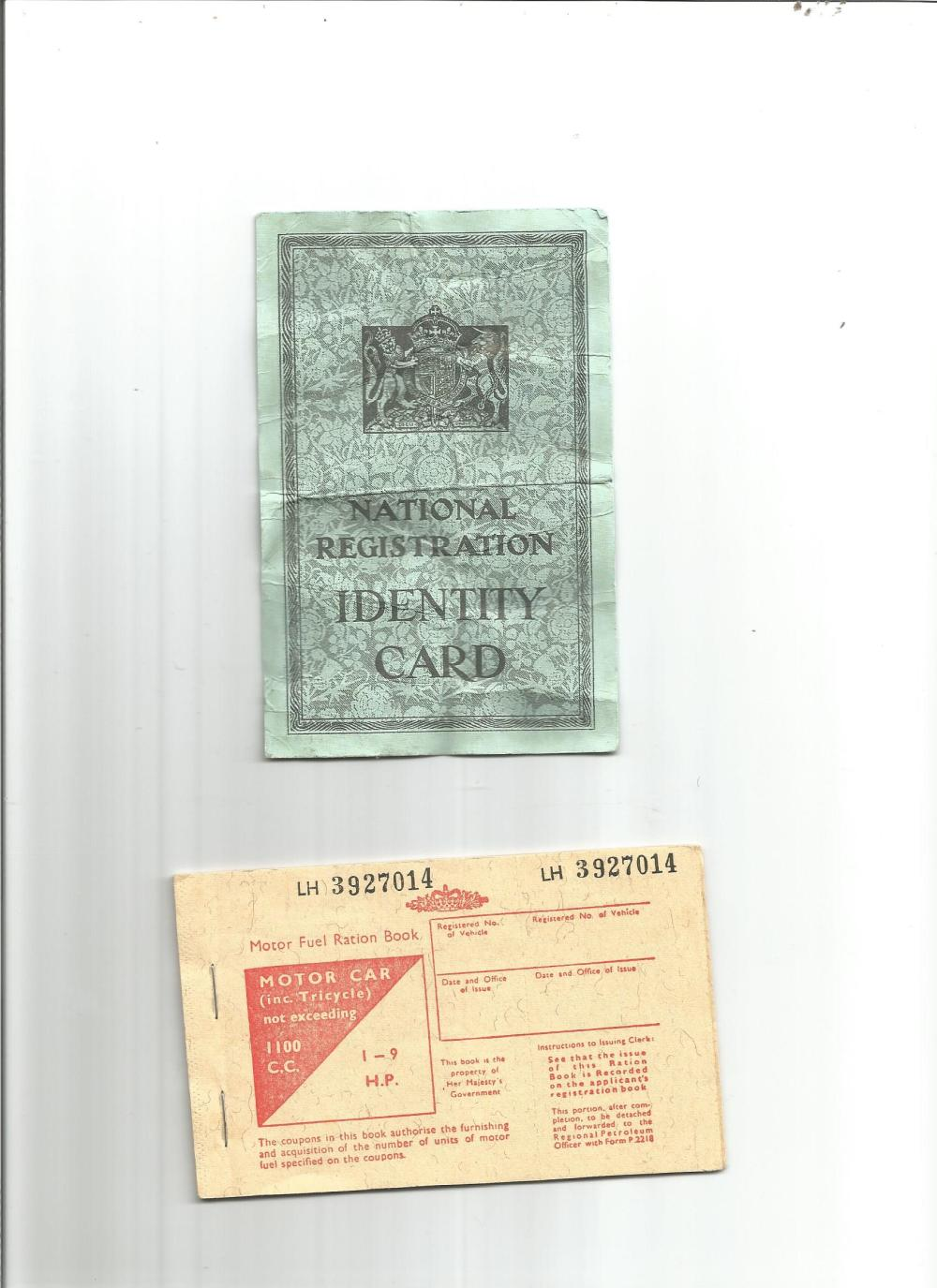 Ephemera collection. Contains a motor fuel ration pack and a national registration identity card.