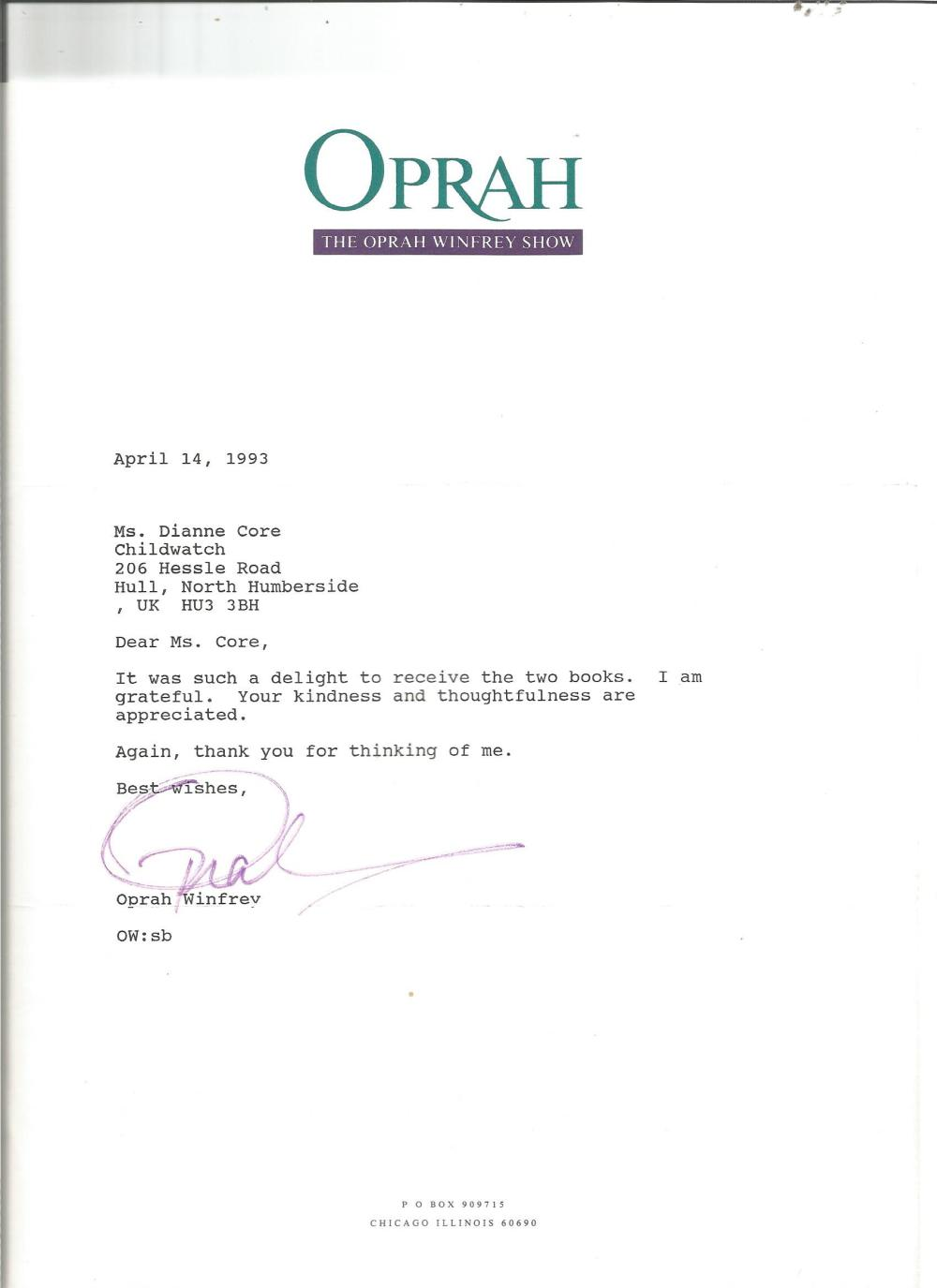 Oprah Winfrey TLS dated 14/4/93. Concerning the receipt of 2 books. On her own stationery. Good