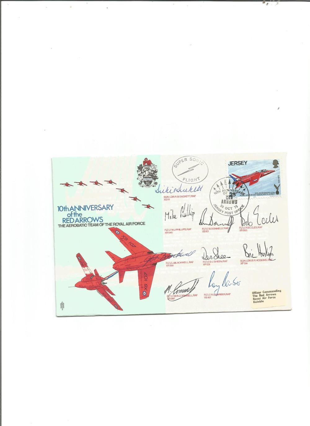Red Arrows scarce 1975 team signed cover. Flown by Gnat from Jersey to RAF Kemble, signed by all
