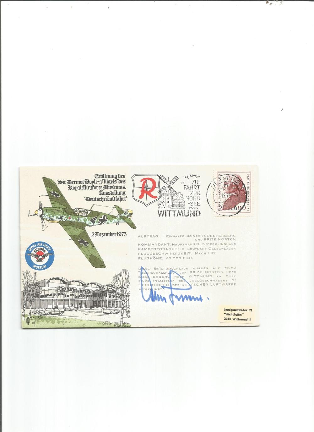 Luftwaffe ace General Adolf Galland KC signed ME109 Raf Musuem cover. Good Condition. All signed