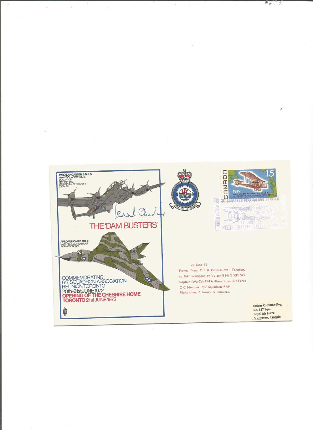 Leonard Cheshire VC signed Dambuster Lancaster and Vulcan bomber RAF cover. Good Condition. All