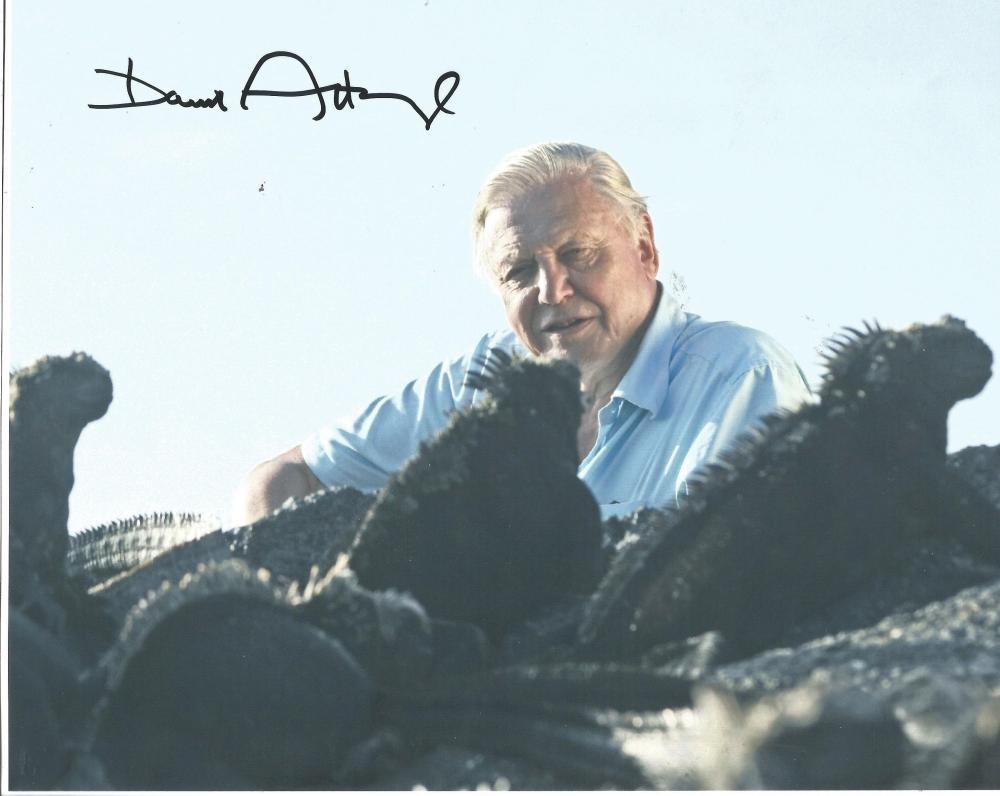 Sir David Attenborough 8x10 signed colour photo very slight crease image and signature not affected.