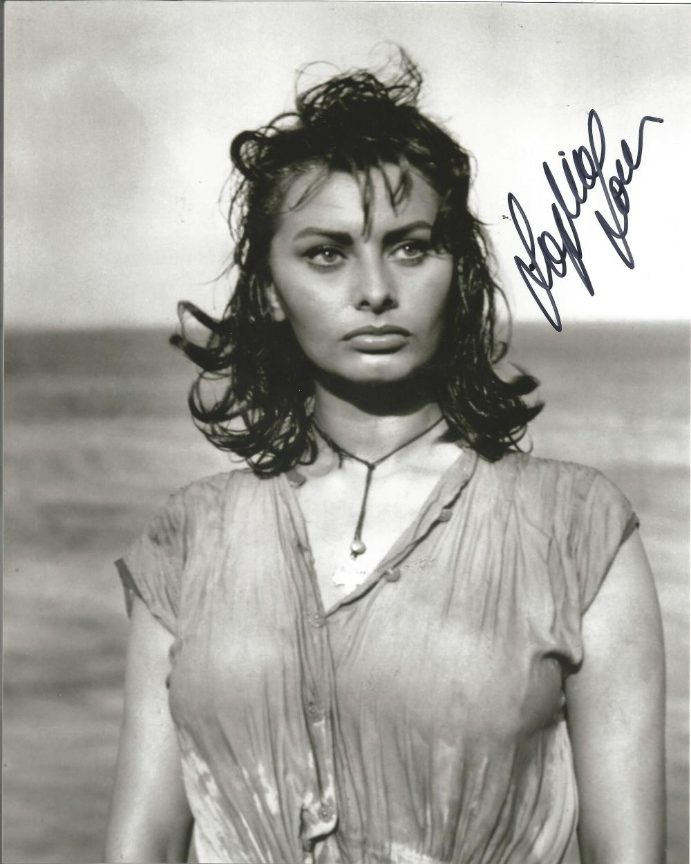 Sophia Loren signed 10x8 b/w photo one slight ding on photo. Good Condition. All signed pieces