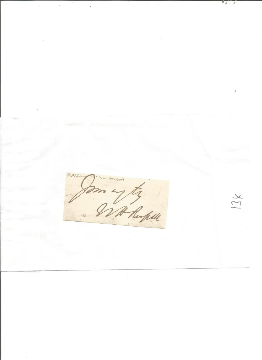 Sir William Howard Russell small signature clipping. He was an Irish reporter with The Times, and is