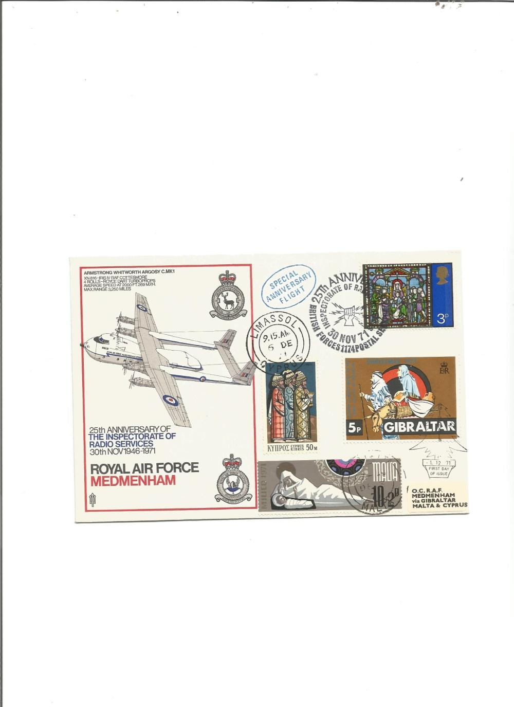 Rare 1971 RAF Medmenham 25th ann Radio Inspectorate cover, flown from UK to Cyprus, Malta, Gibraltar