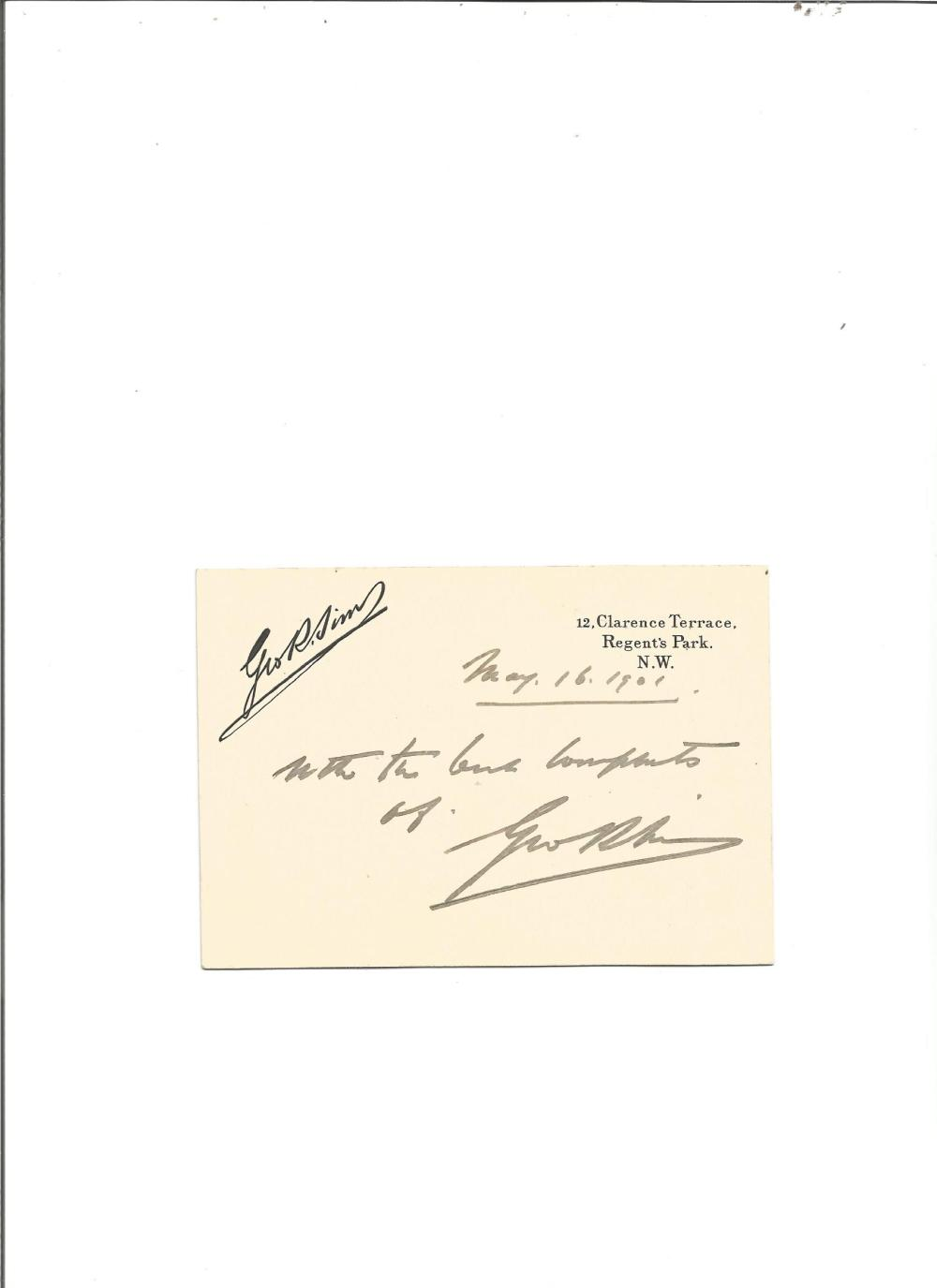 George Robert Sims signed on personal stationary card. English journalist, poet, dramatist, novelist
