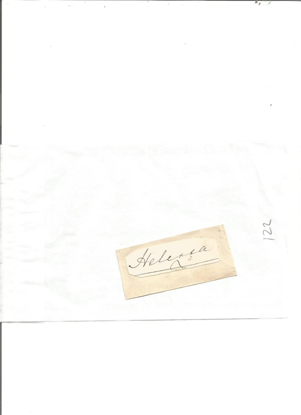 Princess Helena small signature piece laid down on card. The third daughter and fifth child of Queen