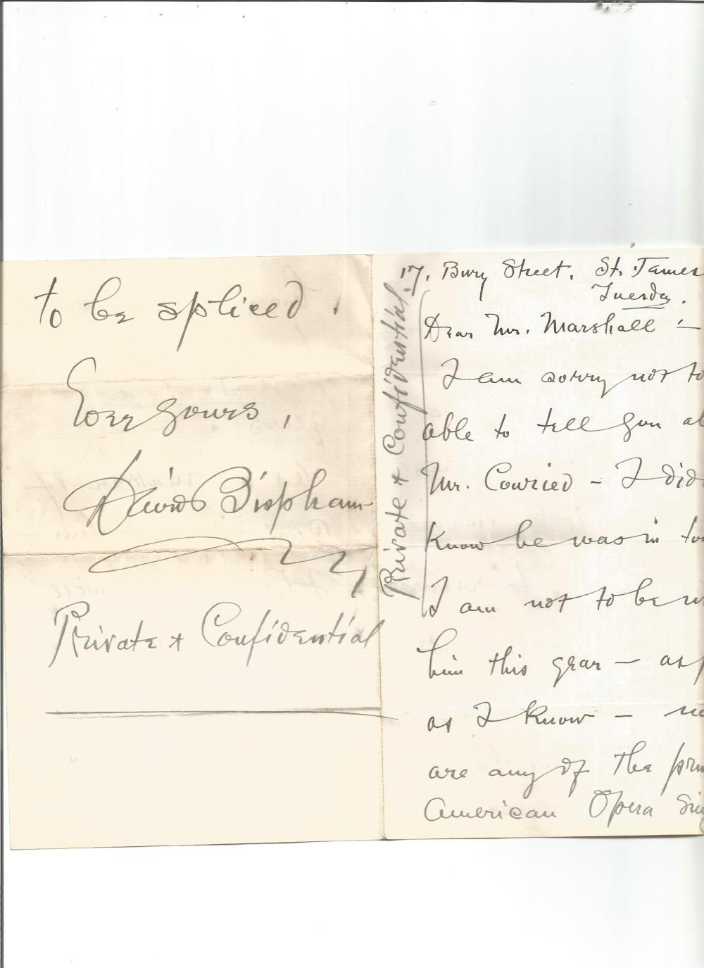 David Bispham handwritten 4 page letter with amusing content about a rumour he was about to be