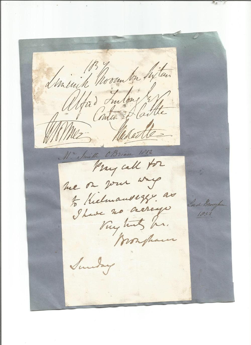 1800s autographs set in blue card, note signed by Robert Peel 1849, small signature piece Disraeli