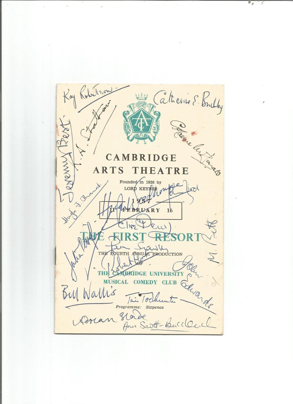 1936 The First Resort Cambridge Arts theatre programme signed to the front by 17 cast members