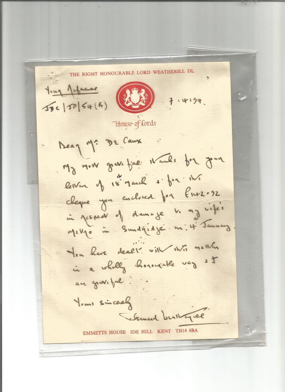 Bernard Weatherill handwritten letter 1994 on House of Lords notepaper, giving thanks for receipt of
