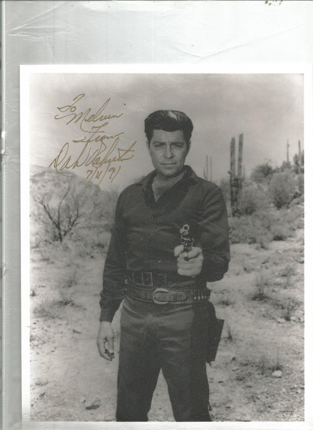 Don William signed 10 x 8 b/w Western photo dedicated. Good Condition. All signed pieces come with a