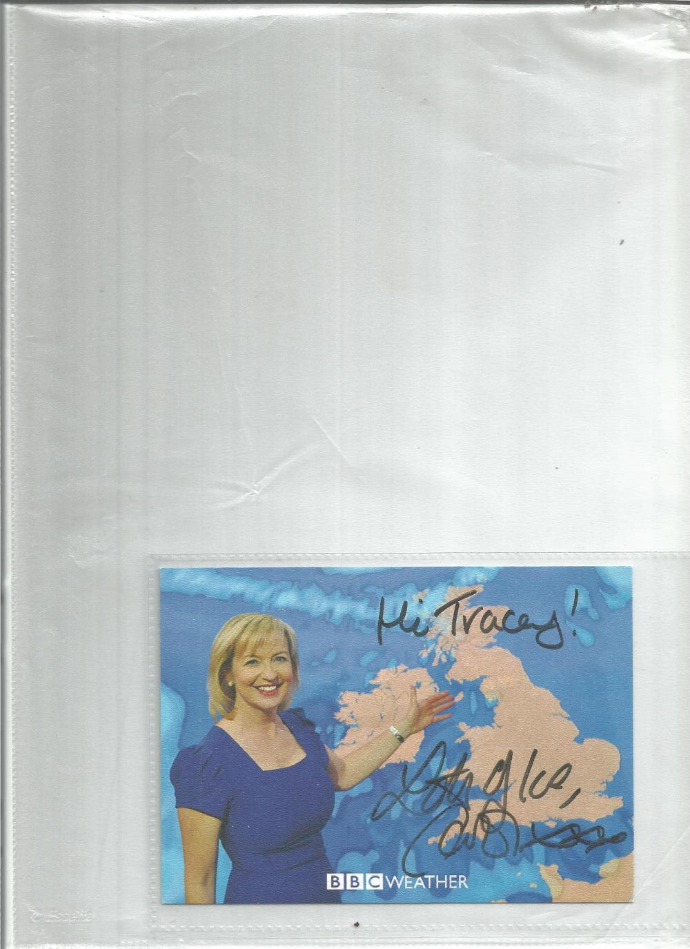 Carol Kirkwood weather presenter signed 6 x 4 colour photo to Tracey. Good Condition. All signed