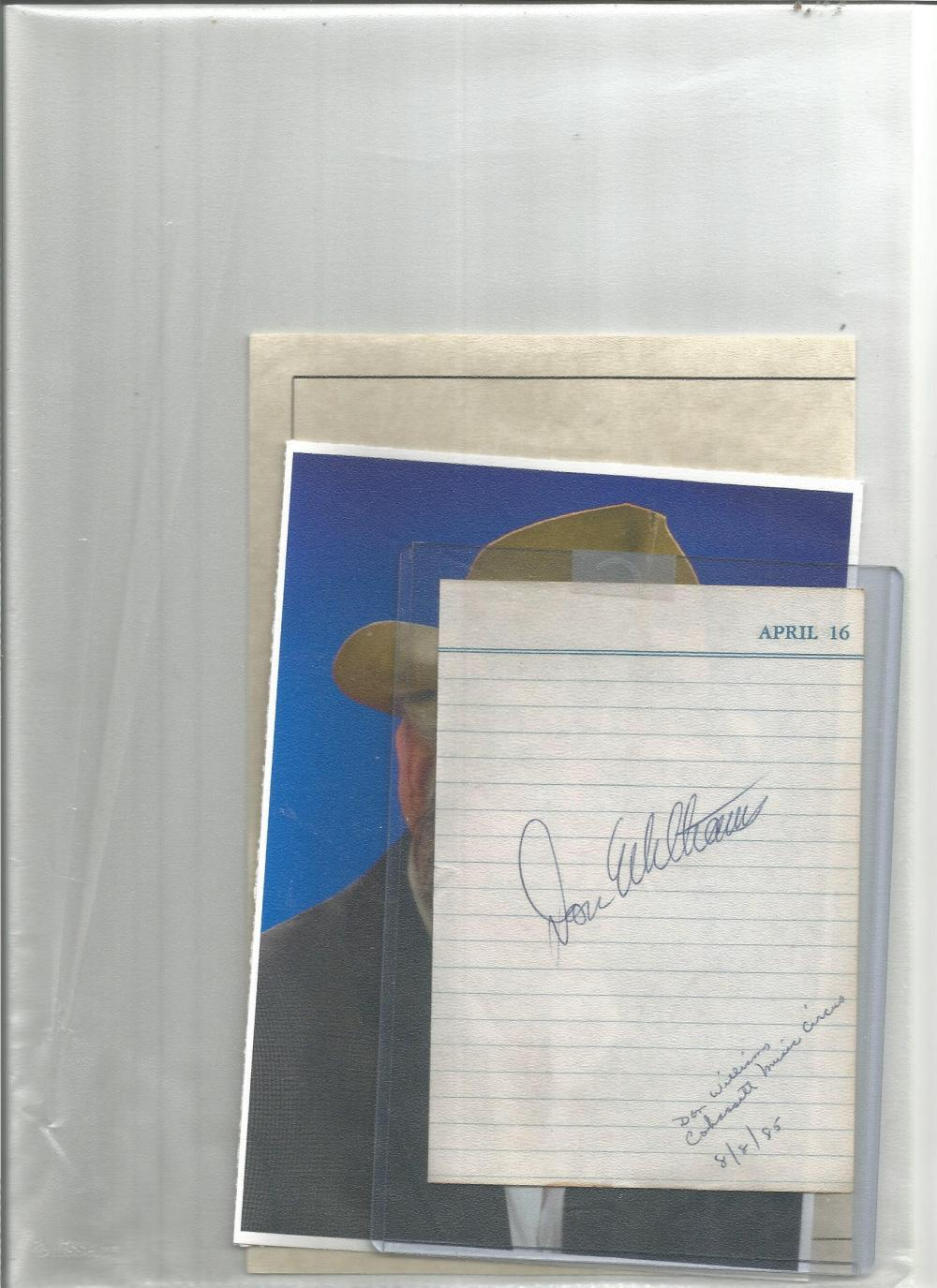 Don Williams signed lined page with unsigned colour photo. Good Condition. All signed pieces come