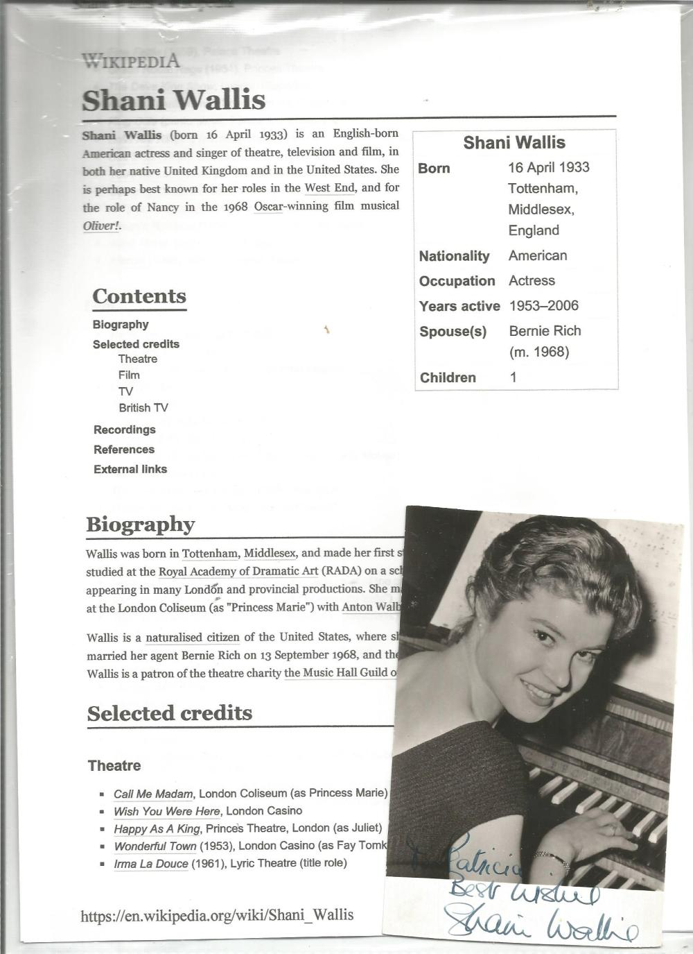 Shani Wallis signed 6 x 4 b/w photo with biography page. Good Condition. All signed pieces come with