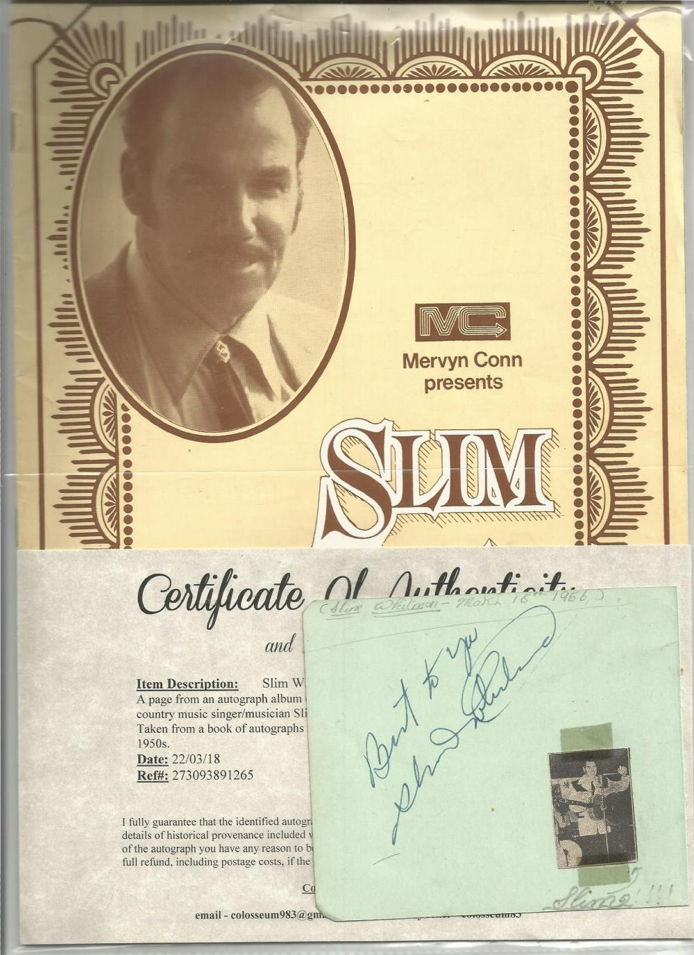 Slim Whitman signed autograph album page with concert programme. Good Condition. All signed pieces