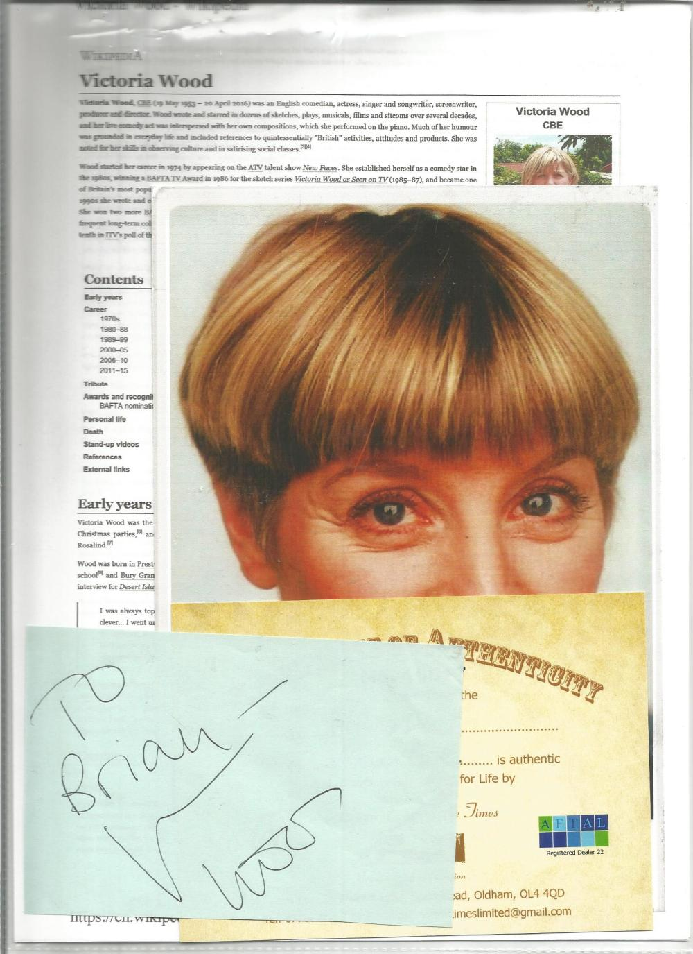 Victoria Wood signed album page to Brian with unsigned photo and with biography page. Good