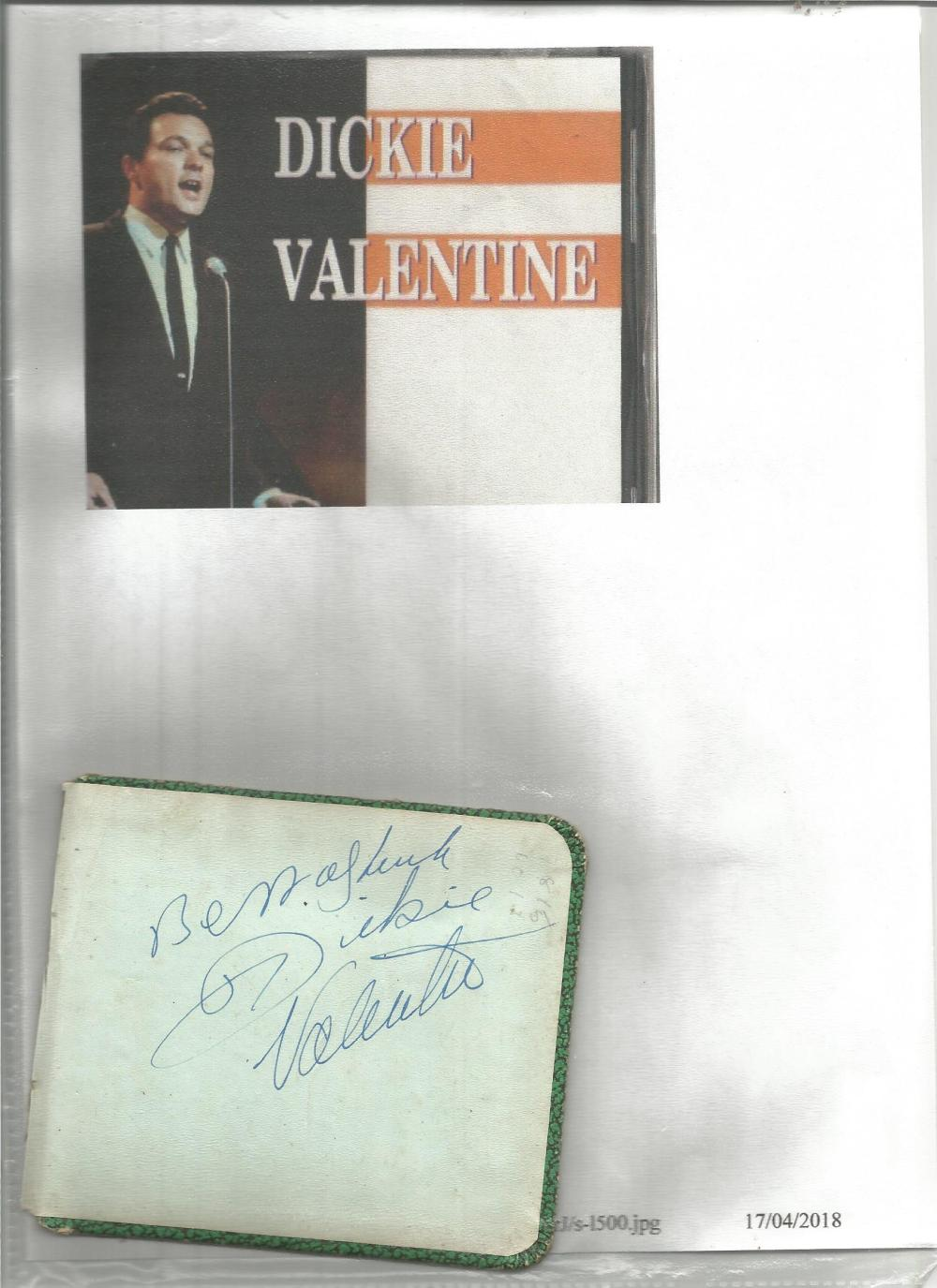 Dickie Valentine signed autograph album page, back page with hard back from book with biography