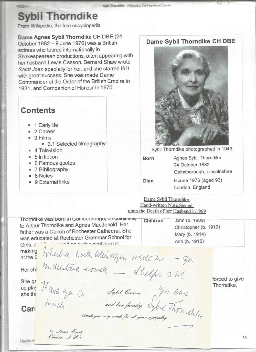 Sybil Thorndike signed note on personal stationary card with biography page. Good Condition. All