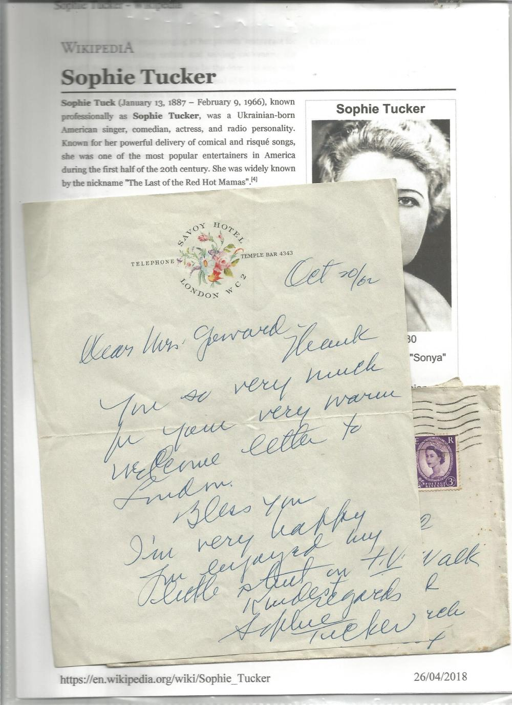 Sophie Tucker handwritten letter with biography page. Good Condition. All signed pieces come with
