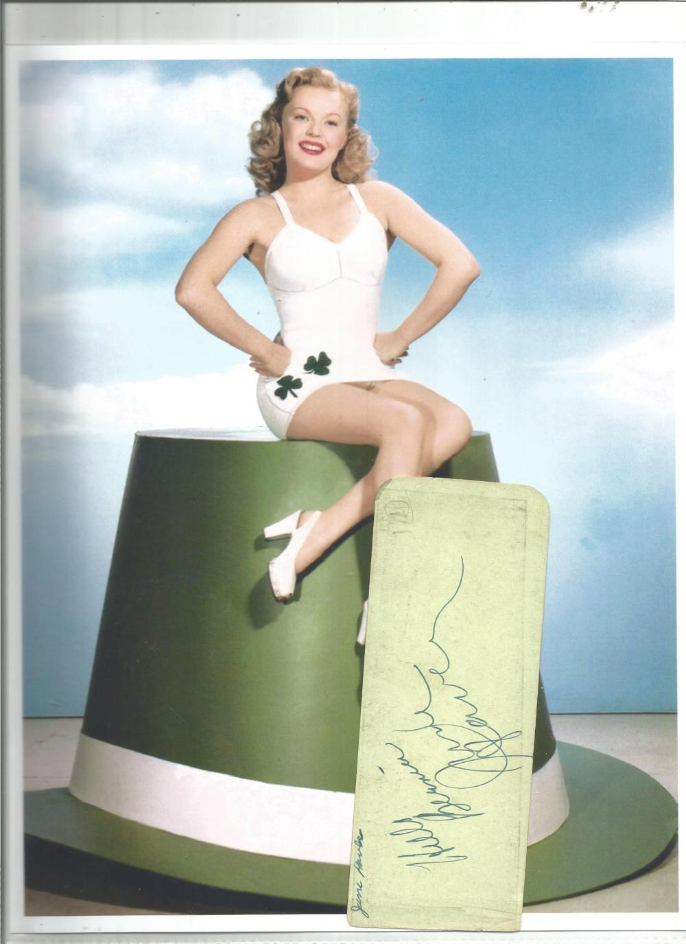 June Haver signed vintage autograph page with colour 10 x 8 unsigned photo. Good Condition. All