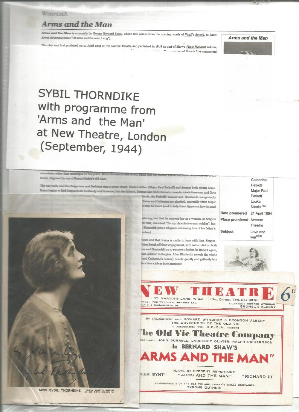 Sybil Thorndike signed 6 x 4 vintage photo with biography page. Good Condition. All signed pieces