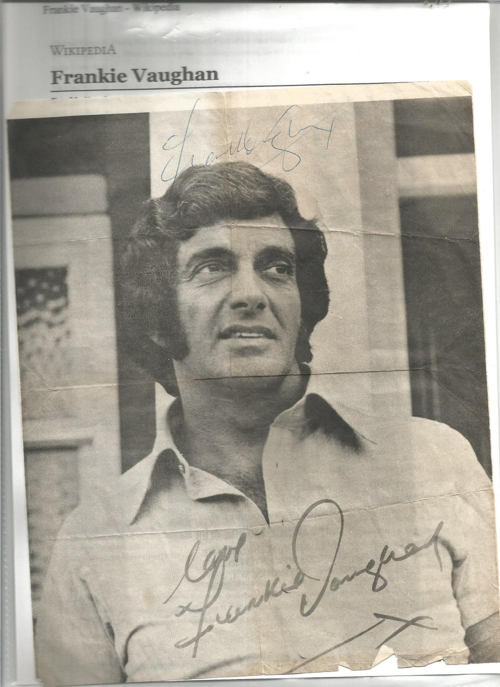 Frankie Vaughan signed 10 x 8 b/w magazine photo, has been folded with biography page. Good