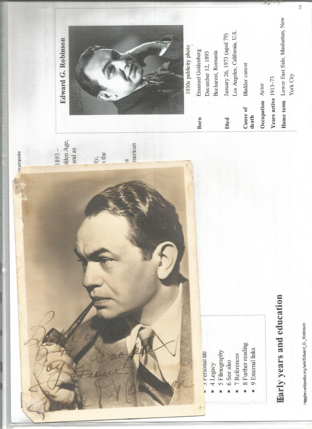 Edward G Robinson signed 6 x 4 sepia photo, dedicated with some bottom LH corner damage. Good