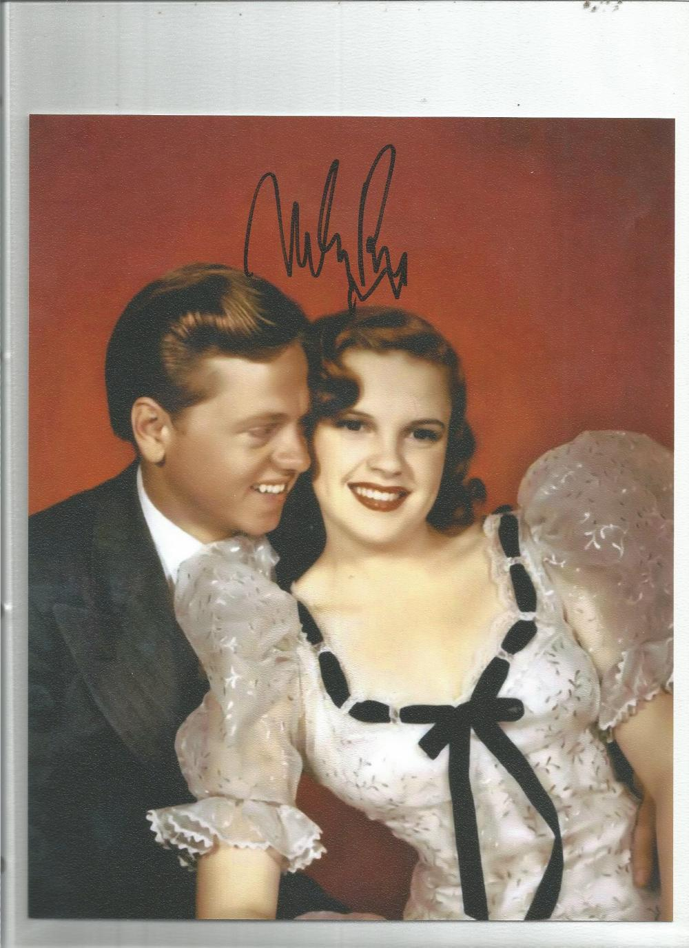 Mickey Rooney signed 10 x 8 colour young photo with biography page. Good Condition. All signed