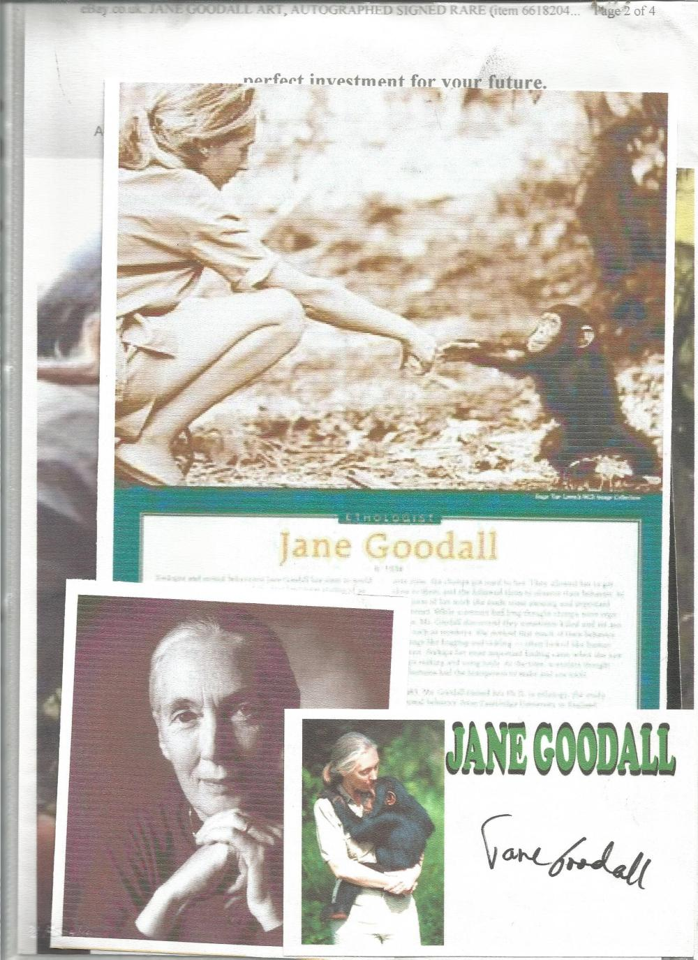 Jane Goodall signed card with biography page. Good Condition. All signed pieces come with a