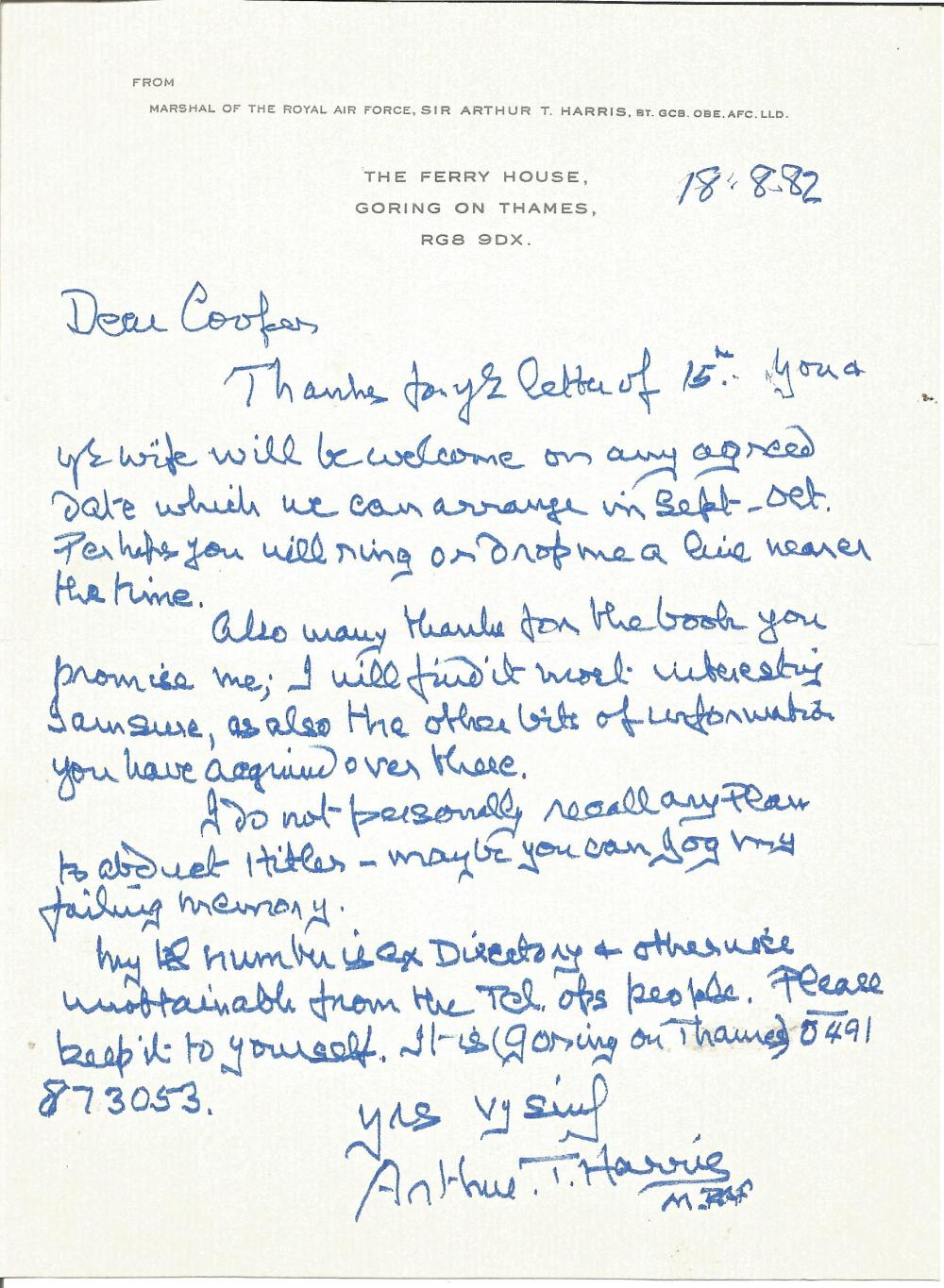 Marshall of The Royal Air Force Sir Arthur T Harris ALS addressed to Mr Cooper thanking him for a
