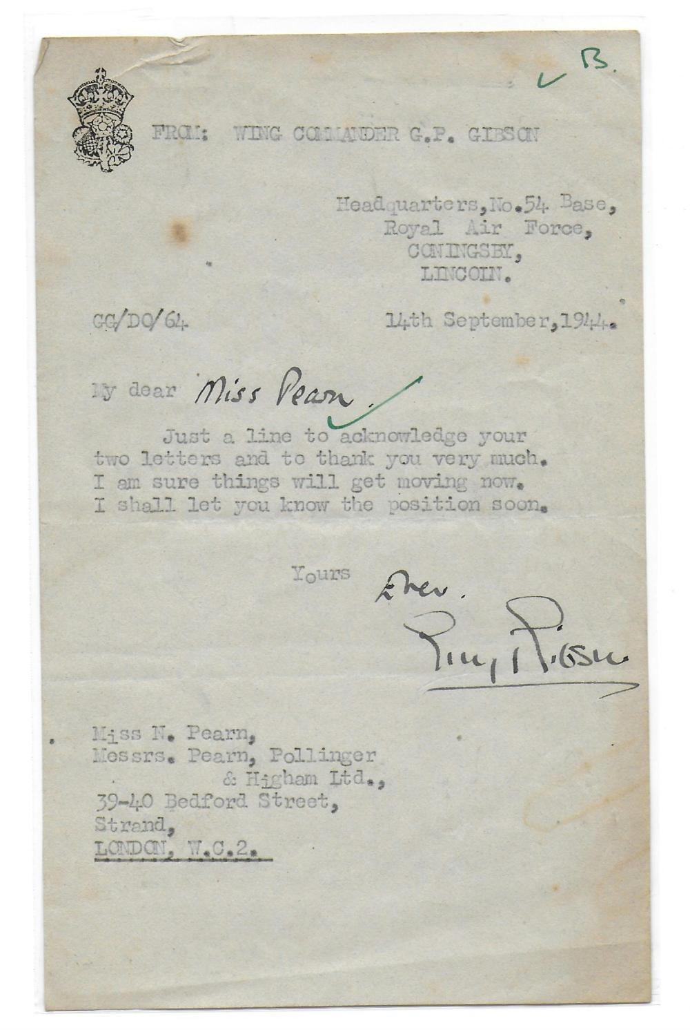 Wing Commander Guy Penrose Gibson VC, DSO, DFC, Legion of Merit. Signed typed letter dated 14th
