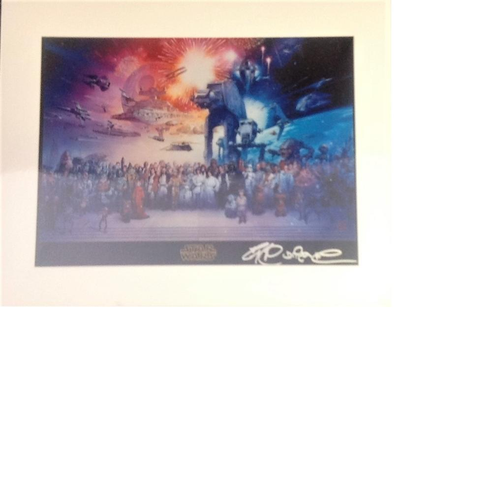 Star Wars signed artwork. Mounted to approx size 18x16. Good Condition. All signed pieces come