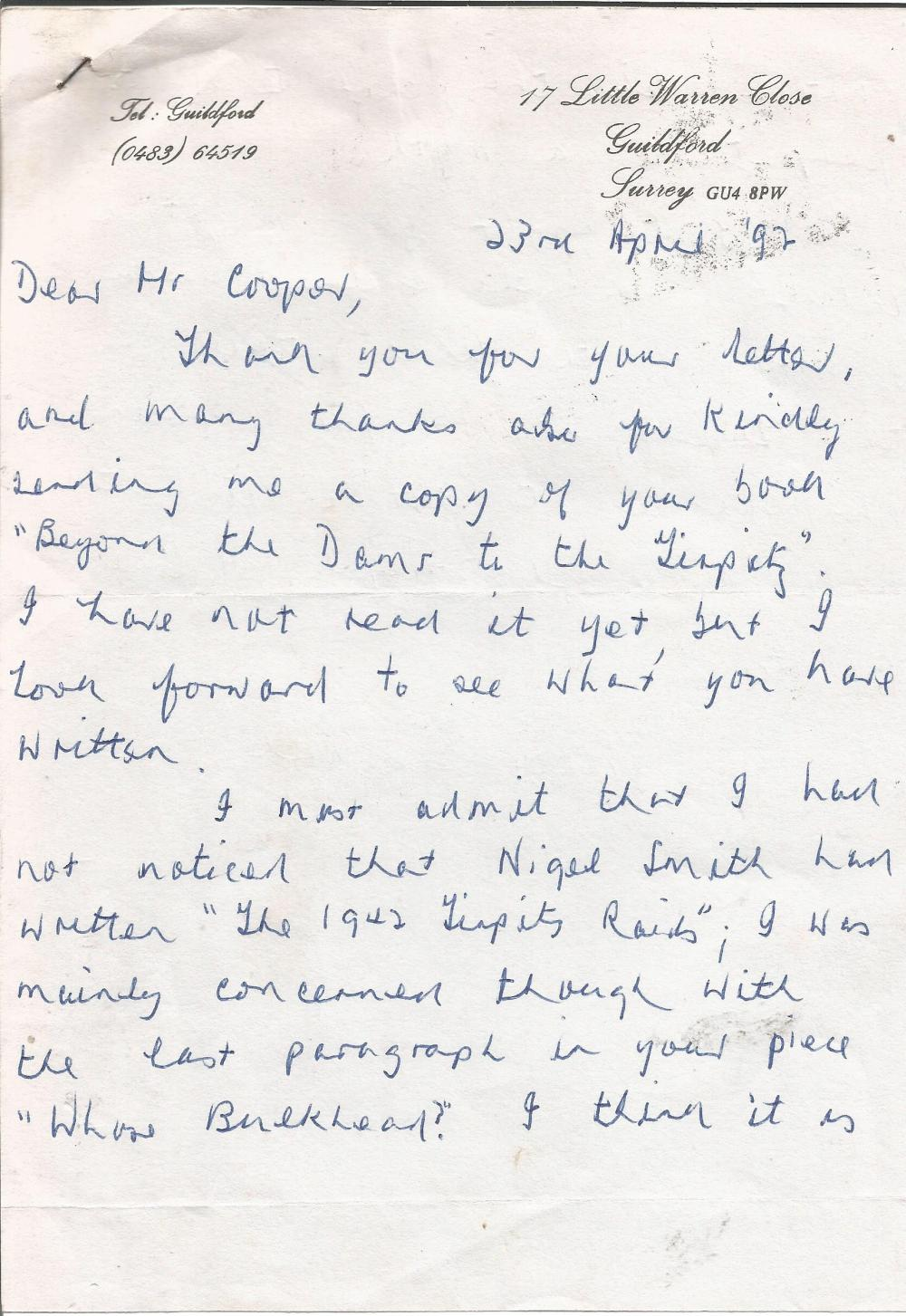 World War Two sinking of the Tirpitz ALS signed by veteran Bob Knights addressed to Mr Cooper