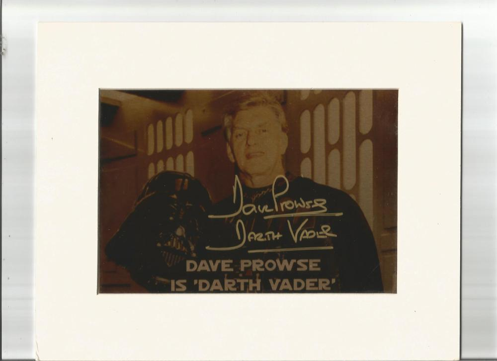 Dave Prowse signed photo. Mounted to approx 8x6. Good Condition. All signed pieces come with a
