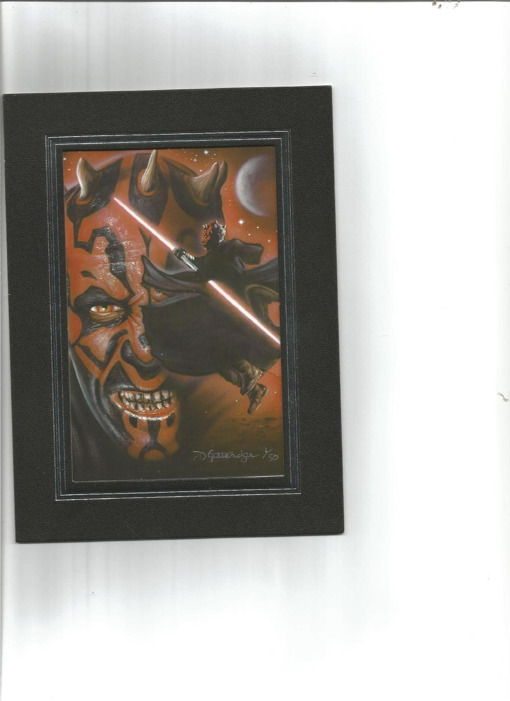 Darth Maul 7x5 limited edition photo. Numbered 1 of 50. Good Condition. All signed pieces come