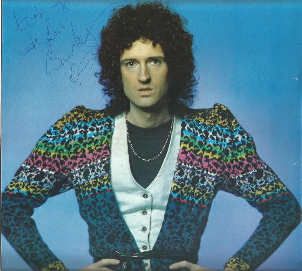 Brian May Queen signed 8 x 8 colour music magazine photo to Donny. Good Condition. All signed pieces