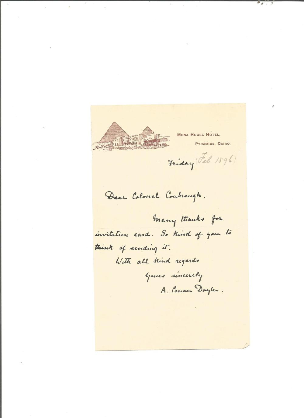 Arthur Conan Doyle ALS from the Pyramids dated 1896. Good Condition. All signed pieces come with a