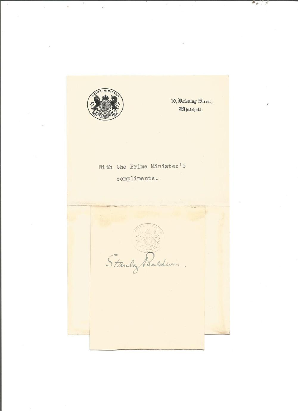Stanley Baldwin signature piece. British Prime Minister on 3 occasions. Good Condition. All signed