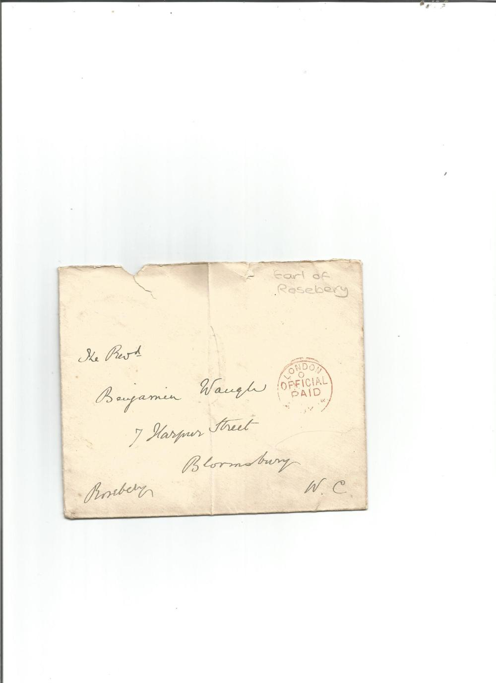 Earl of Rosebery envelope. Good Condition. All signed pieces come with a Certificate of
