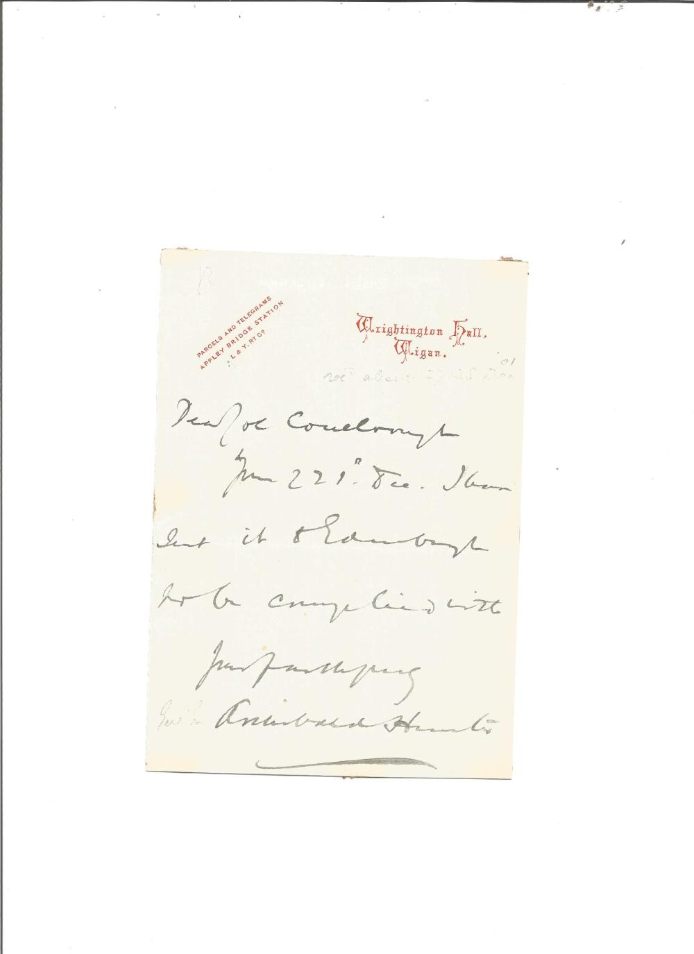 General Sir Archibald Hunter (1856-1936) ALS. Good Condition. All signed pieces come with a